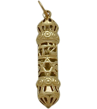 Yellow Gold Mezuzah Jewish Pendant