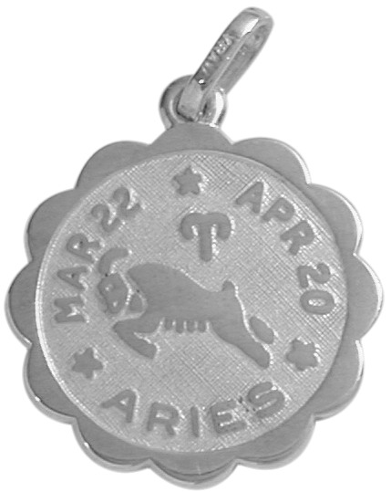 Fashion-Round Sterling Silver Aries Zodiac Pendant
