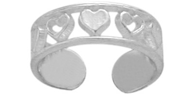 Genuine Sterling Silver Seven Heart Toe Ring