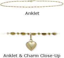 """Yellow Gold 10"""" Bead Style Anklet with 9mm Heart Charm"""