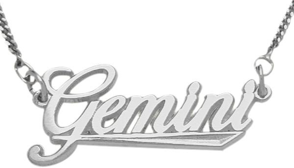 Genuine Sterling Silver Gemini Script Zodiac Pendant May 22 - June 22 with chain
