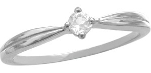 Ladies White Gold White Topaz Ring