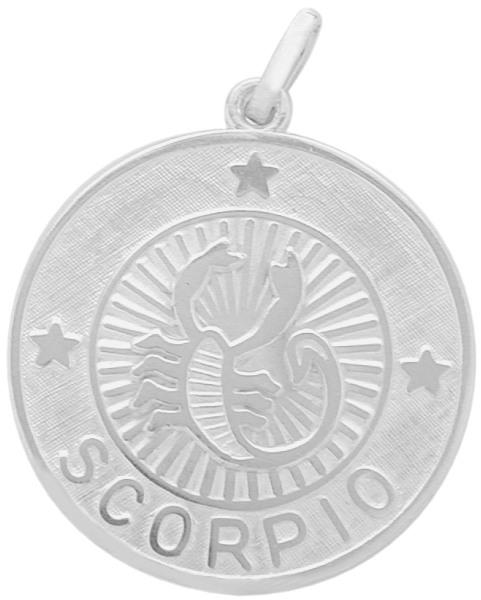 Sterling Silver Scorpio Zodiac Pendant with Chain, 1 Inch
