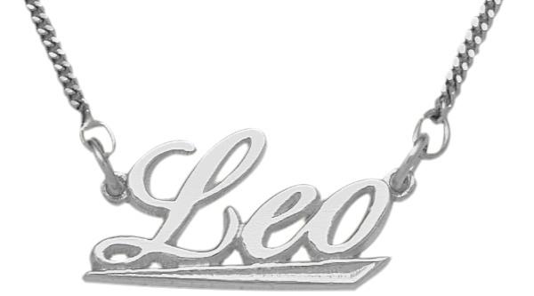 Genuine Sterling Silver Leo Script Zodiac Pendant July 24 - Aug 23 with chain