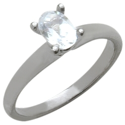 Ladies White Gold Oval White Topaz Solitaire Ring
