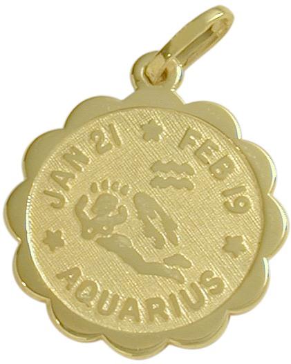 10 Karat Yellow Gold Aquarius Zodiac Pendant (Jan 21-Feb 19)
