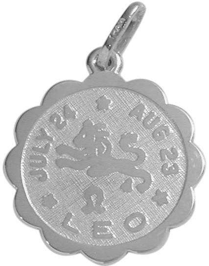 Round Sterling Silver Leo Zodiac Pendant