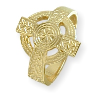 Men's 10 Karat or 14 Karat Yellow Gold Religious Celtic Cross Ring