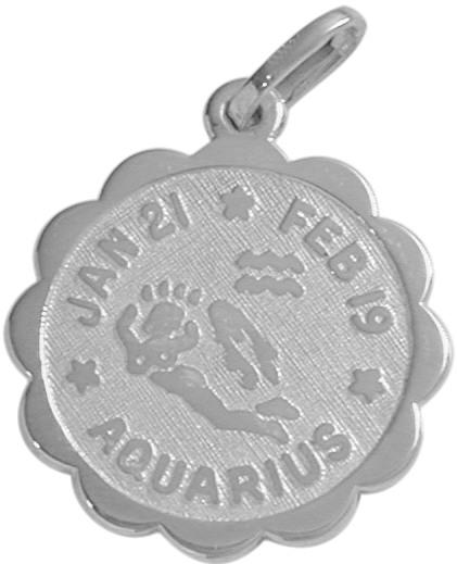 Fashion-Round Sterling Silver Aquarius Zodiac Pendant