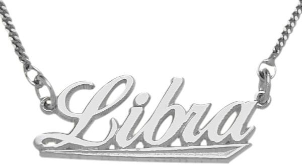 Genuine Sterling Silver Libra Script Zodiac Pendant Sept 23 - Oct 23 with chain