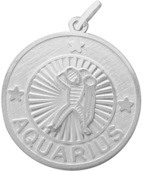 Fashion-Sterling Silver Aquarius Zodiac Pendant with Chain, 1 Inch