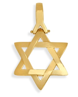 14 Karat Religious High Polish Yellow Gold Star of David Jewish Pendant