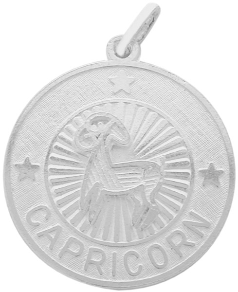 Sterling Silver Capicorn Zodiac Pendant with Chain, 1 Inch
