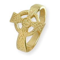 Ladies Yellow Gold Celtic Cross Ring