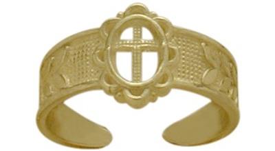 10 Karat Yellow Gold Religious Cross Toe Ring