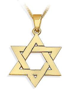 14 Karat High Polish Yellow Gold Star of David Jewish Pendant