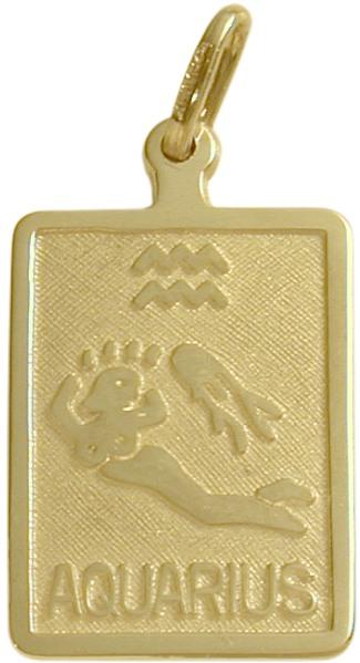 10 Karat Yellow Gold Aquarius Zodiac Pendant