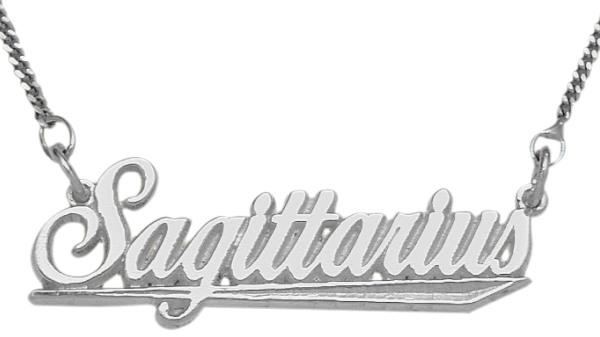 Genuine Sterling Silver Sagittarius Script Zodiac Pendant Nov 23 - Dec 22 with chain