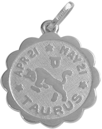 Round Sterling Silver Taurus Zodiac Pendant