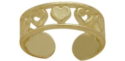 10 Karat Yellow Gold Seven Heart Toe Ring