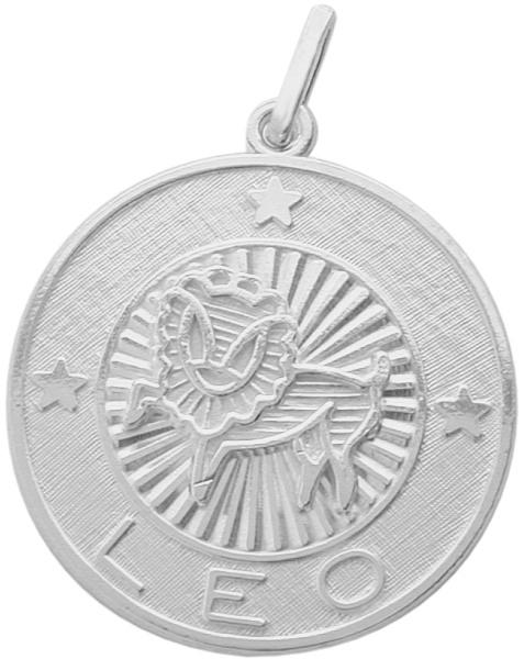 Sterling Silver Leo Zodiac Pendant with Chain, 1 Inch