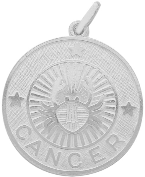 Sterling Silver Cancer Zodiac Pendant with Chain, 1 Inch