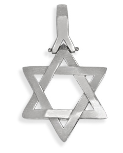 Sterling Silver High Polish Religious Heavy Star of David Jewish Pendant