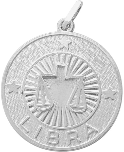 Sterling Silver Libra Zodiac Pendant with Chain, 1 Inch