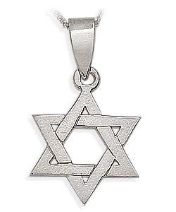 14 Karat High Polish White Gold Religious Star of David Jewish Pendant