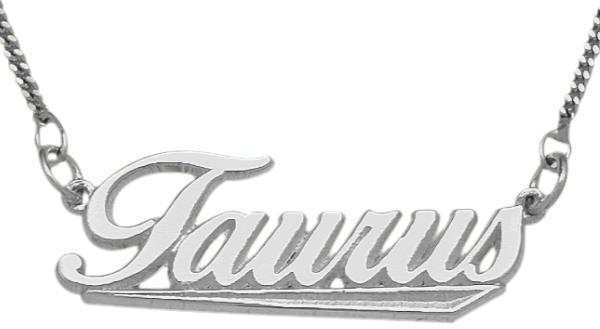 Genuine Sterling Silver Taurus Script Zodiac Pendant Apr 21 - May 21 with chain