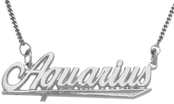 Genuine Sterling Silver Aquarius Script Zodiac Pendant Jan 21 - Feb 19 with chain