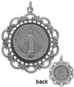 Fashion-Large Sterling Silver Religious Mary Medal Medallion