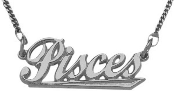 "10K White Gold Pisces Script Zodiac Pendant Feb 20 - Mar 21 with 16"" chain"