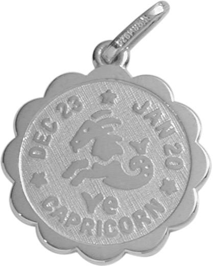 Round Sterling Silver Capricorn Zodiac Pendant