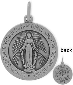 Fashion-Round Sterling Silver Religious Mary Medal Medallion