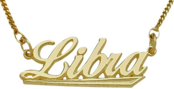 "10K Yellow Gold Libra Script Zodiac Pendant Sept 23 - Oct 23 with 16"" chain"