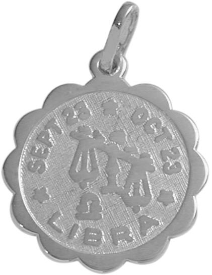 Round Sterling Silver Libra Zodiac Pendant