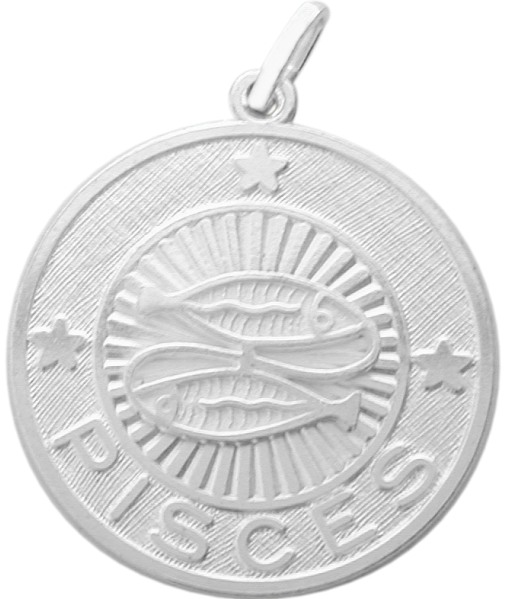 Sterling Silver Pisces Zodiac Pendant with Chain, 1 Inch