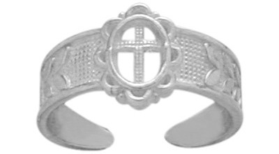 Genuine Sterling Silver Religious Cross Toe Ring