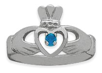 Ladies 10 Karat White Gold Blue Topaz Claddagh Ring