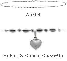 """White Gold 10"""" Bead Style Anklet with 9mm Heart Charm"""