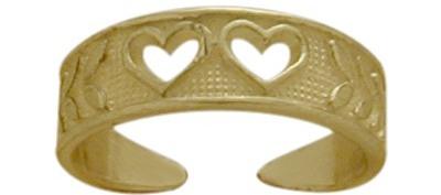 10 Karat Yellow Gold Double Heart Toe Ring