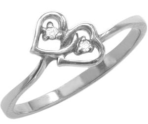 Ladies White Gold Double Heart Diamond Ring