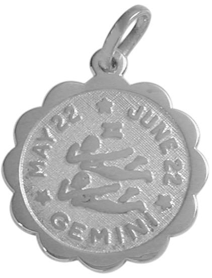 Round Sterling Silver Gemini Zodiac Pendant