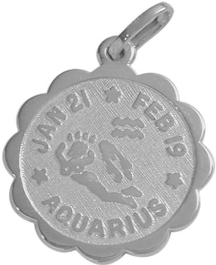 10 Karat White Gold Aquarius Zodiac Pendant (Jan 21-Feb 19)